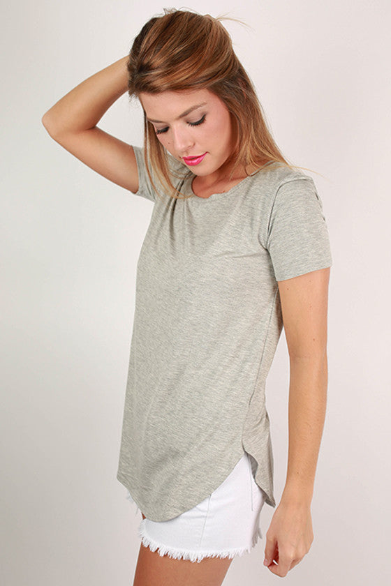 At First Crush Short Sleeve Scoop Tee in Heather Grey