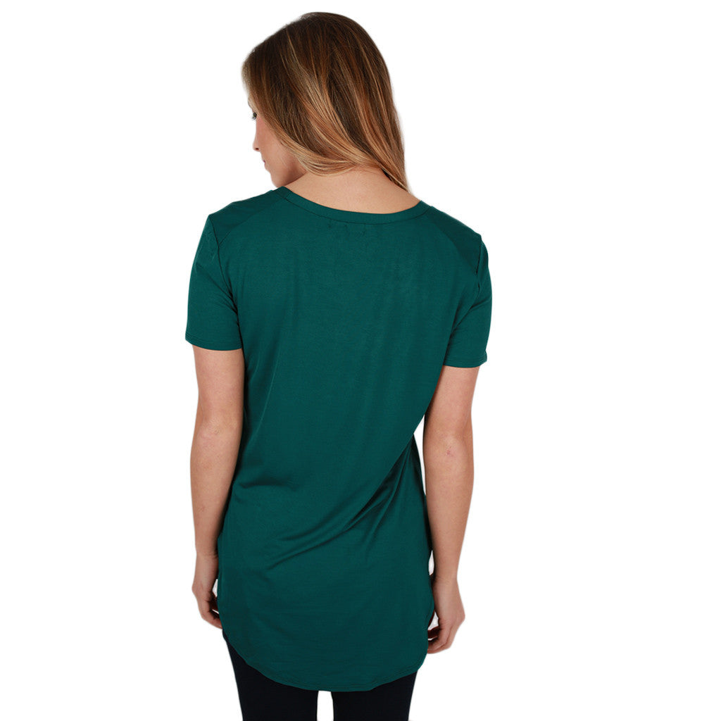 At First Crush Short Sleeve Scoop Tee in Hunter Green