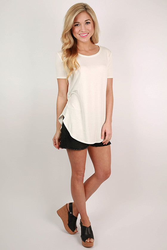 At First Crush Short Sleeve Scoop Tee in Ivory