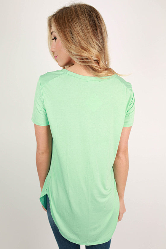 At First Crush Short Sleeve Scoop Tee in Mint