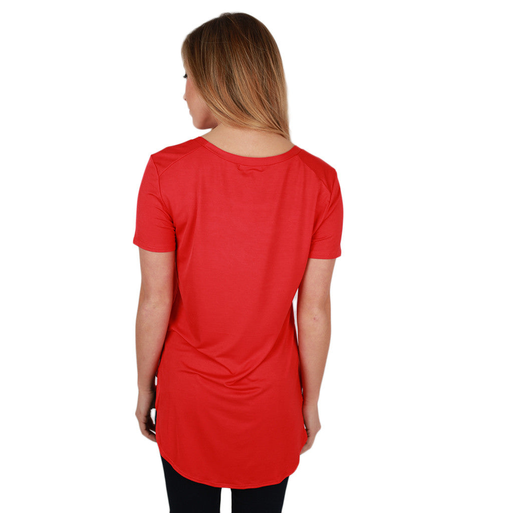 At First Crush Short Sleeve Scoop Tee in Tomato