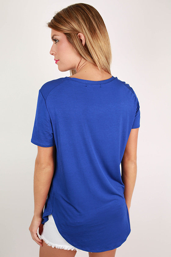 At First Crush Short Sleeve Scoop Tee in Royal Blue
