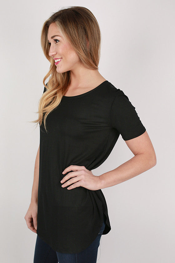 At First Crush Short Sleeve Scoop Tee in Black