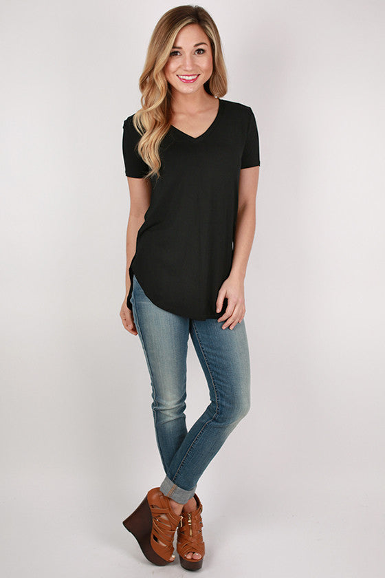 At First Crush Short Sleeve V-Neck Tee in Black