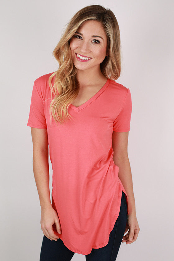 At First Crush Short Sleeve V-Neck Tee in Coral