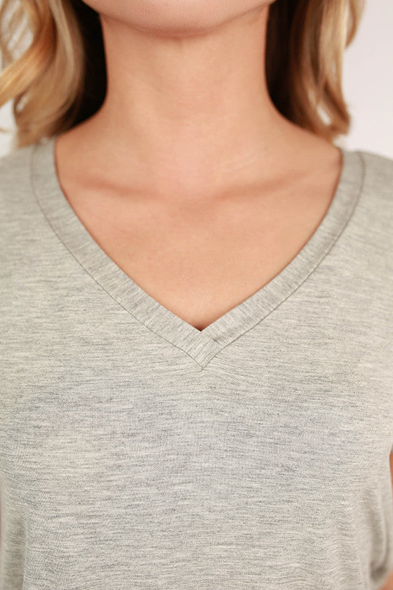 At First Crush Short Sleeve V-Neck Tee in Heather Grey