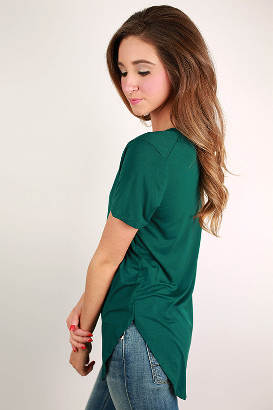At First Crush Short Sleeve V-Neck Tee in Hunter Green