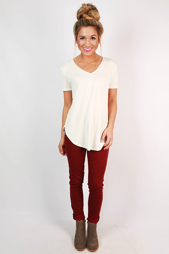 At First Crush Short Sleeve V-Neck Tee in Ivory