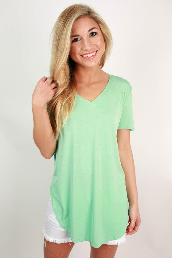 At First Crush Short Sleeve V-Neck Tee in Mint