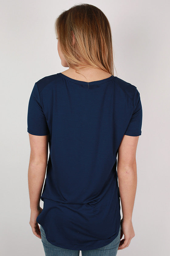 At First Crush Short Sleeve V-Neck Tee in Navy