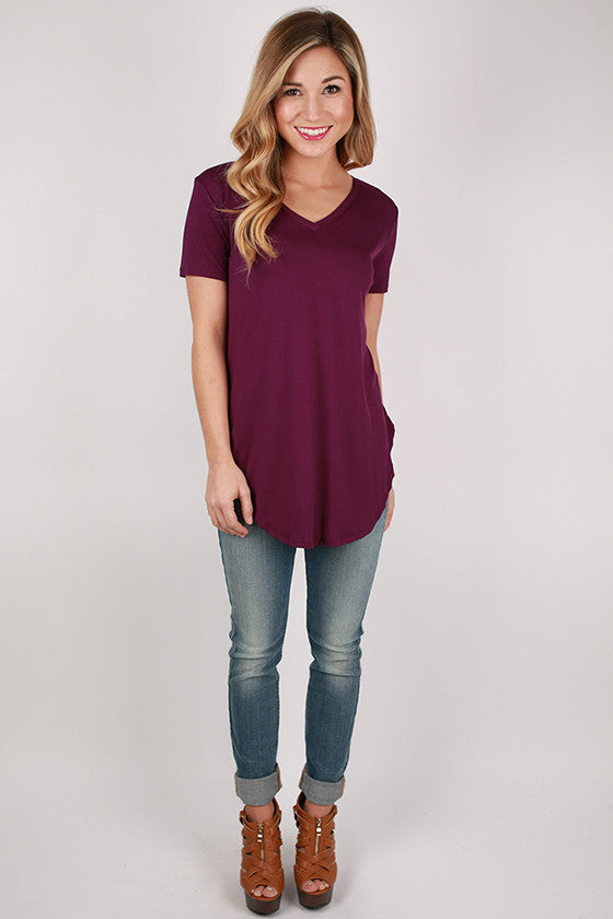 At First Crush Short Sleeve V-Neck Tee in Purple