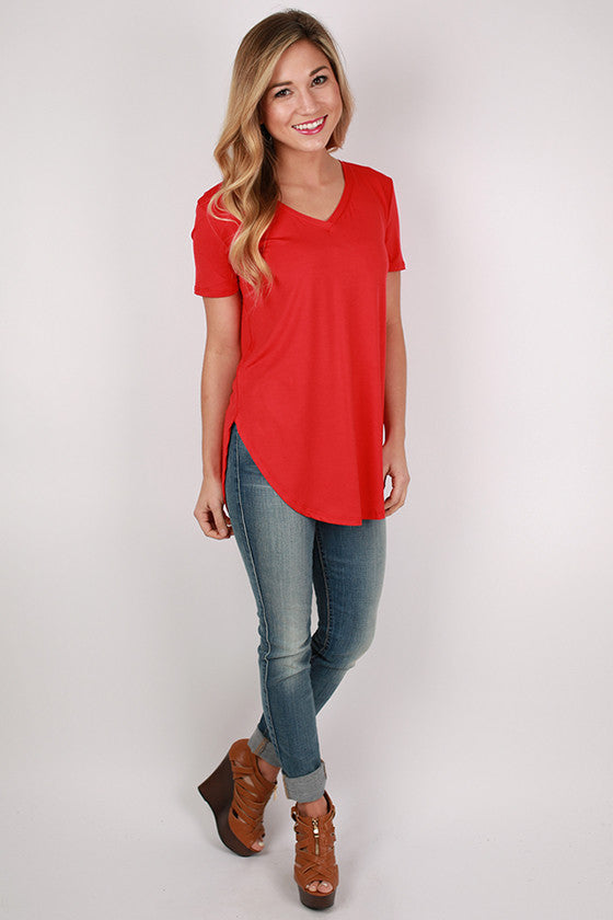 At First Crush Short Sleeve V-Neck Tee in Tomato