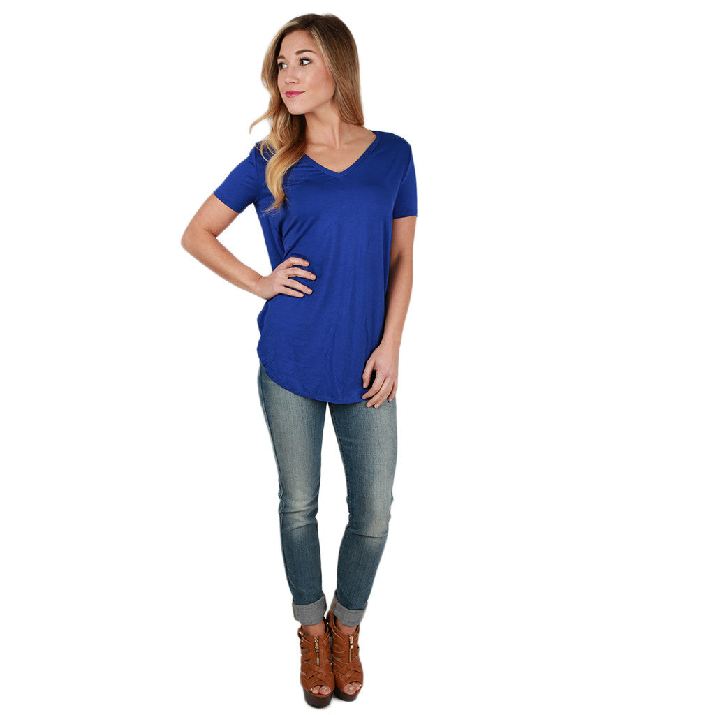 At First Crush Short Sleeve V-Neck Tee in Royal Blue