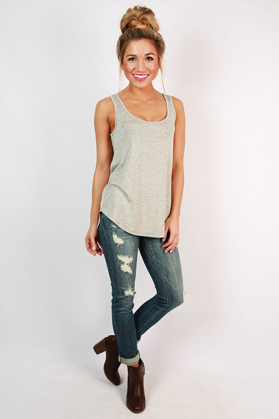 At First Crush Tank in Heather Grey