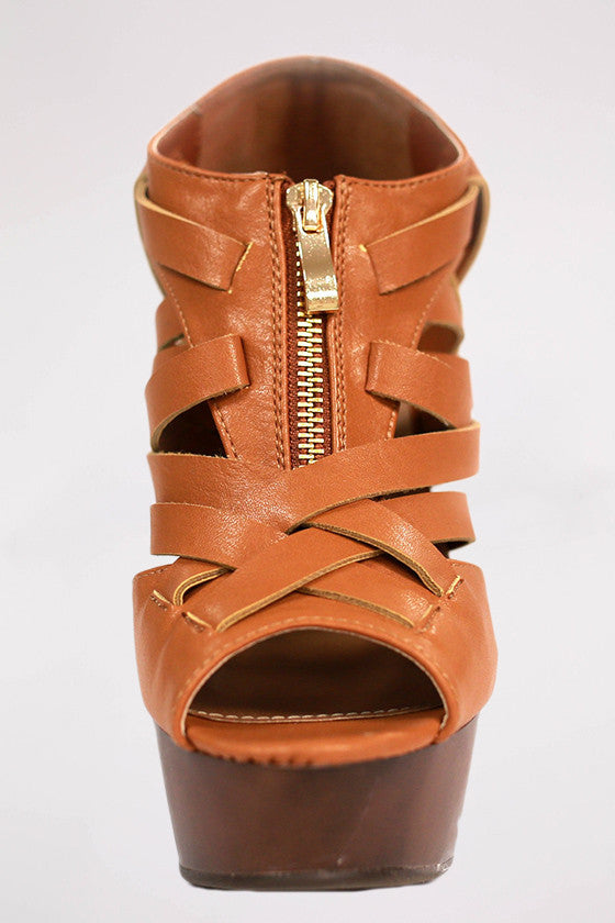 Walk On The Pretty Side Wedge in Camel