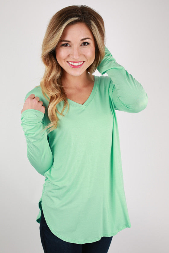 At First Crush V-Neck Tee in Mint