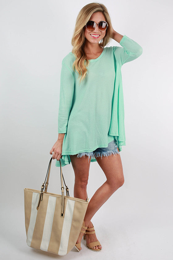 Walk In The Park Thermal Top in Mint