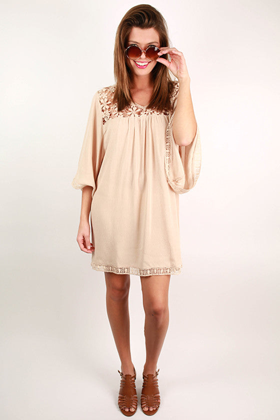 High Demand Lace Dress in Beige