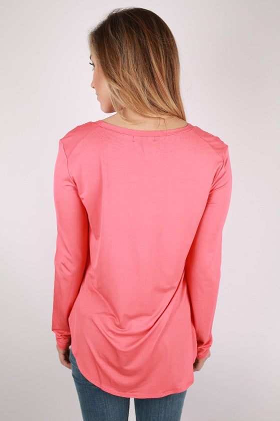 At First Crush Scoop Tee in Coral