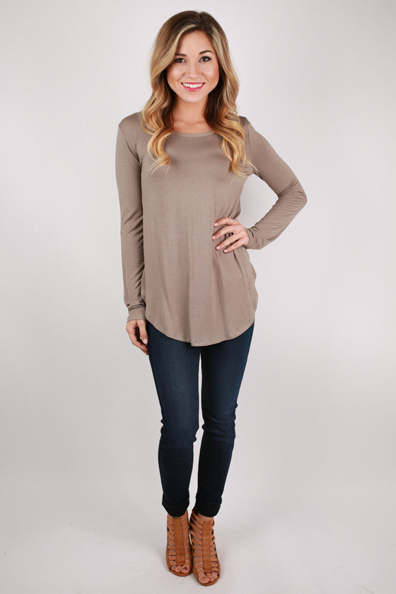 At First Crush Scoop Tee in Mocha