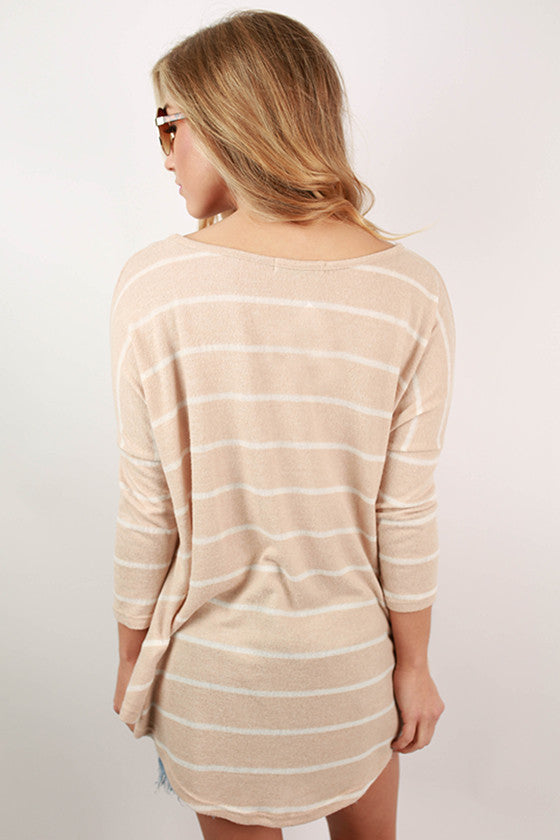 Happiest In Stripes Top in Beige