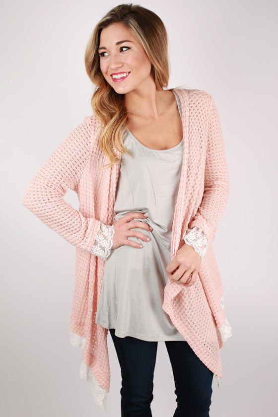 Frills & Fun Cardi in Peach