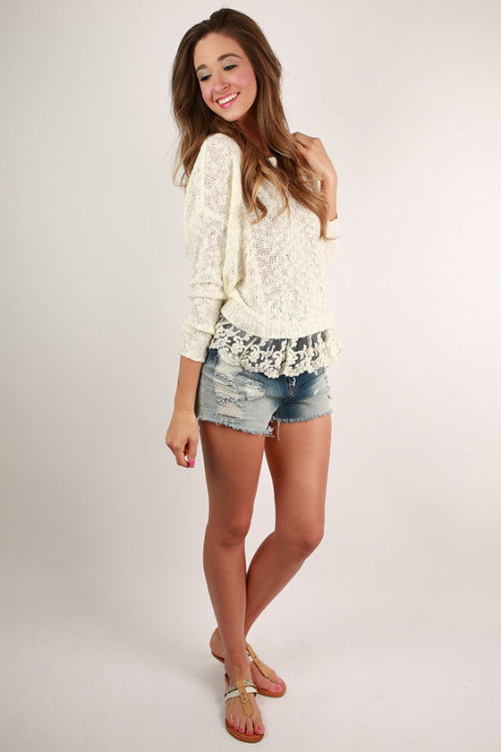 Lace Crush Top in Ivory