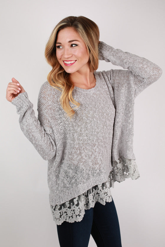 Lace Crush Top in Grey