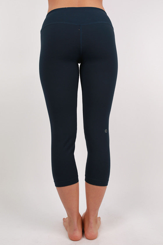 Basic Thick Jersey Capri Pants Navy
