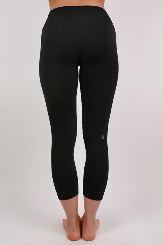 Basic Thick Jersey Capri Pants Black