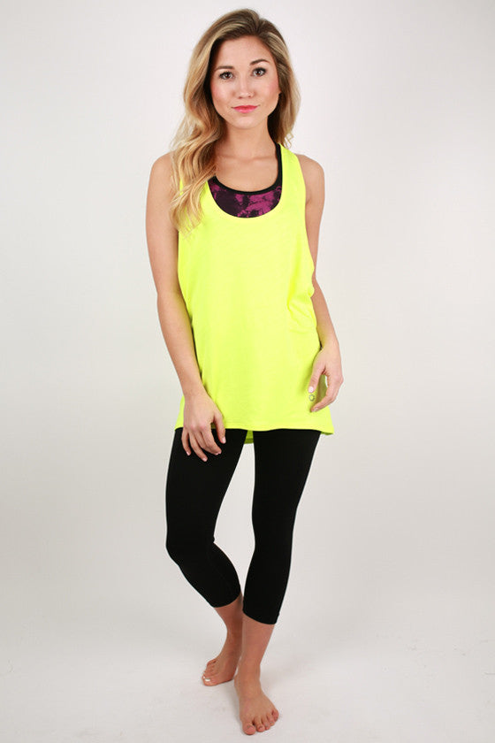 Racer Back Loose Top in Neon Yellow