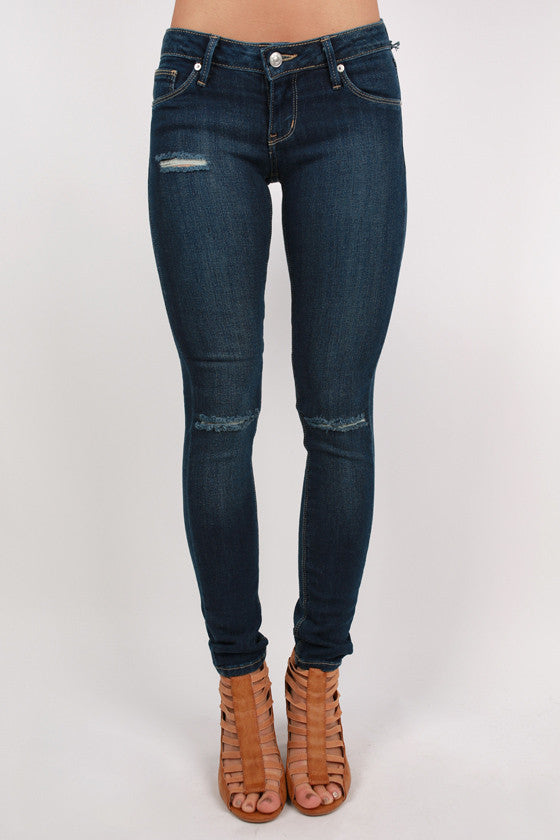Distressed Ankle Skinny in Stone Blue