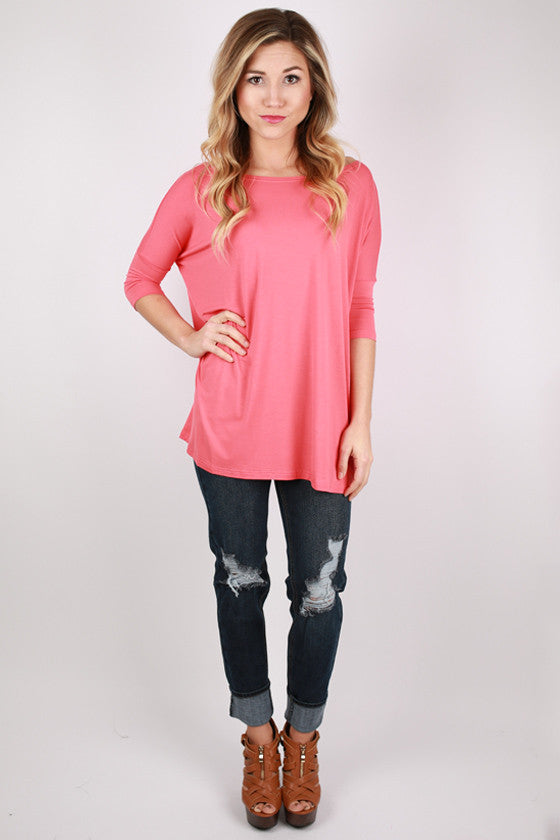 PIKO Mid Sleeve Tee in Dark Salmon
