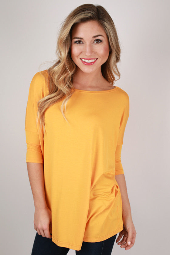 PIKO Mid Sleeve Tee in Bright Orange