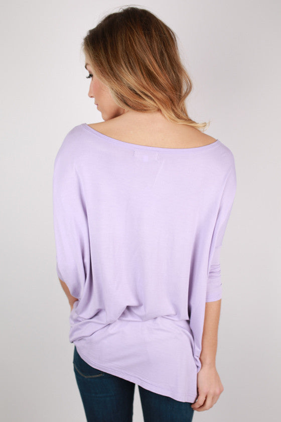 PIKO Mid Sleeve Tee in Light Purple