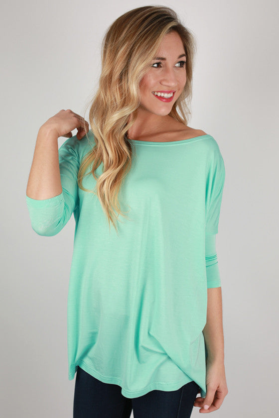 PIKO Mid Sleeve Tee in Light Turquoise