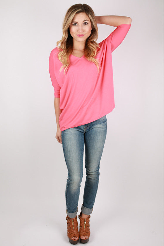 PIKO V-Neck Short Sleeve in Coral