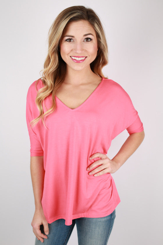 PIKO V-Neck Short Sleeve in Bright Peach
