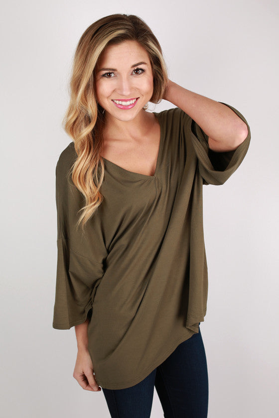 PIKO V-Neck Weekend Tee in Darker Olive