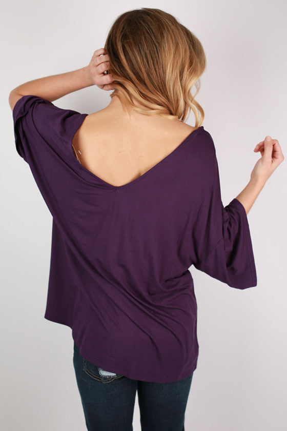 PIKO V-Neck Weekend Tee in Dark Purple