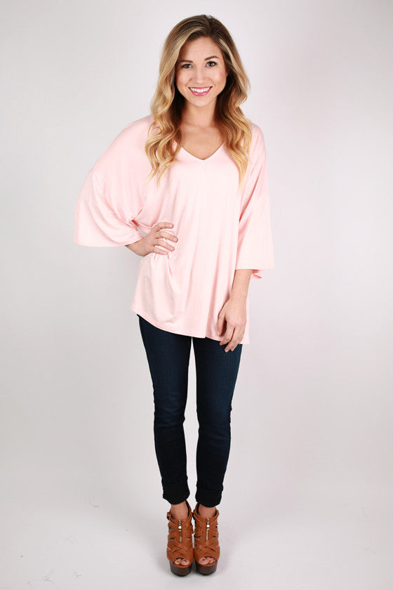 PIKO V-Neck Weekend Tee in Light Peach