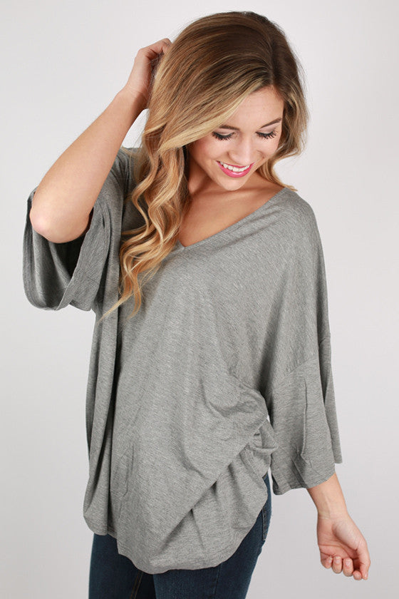 PIKO V-Neck Weekend Tee in Dark Heather Grey