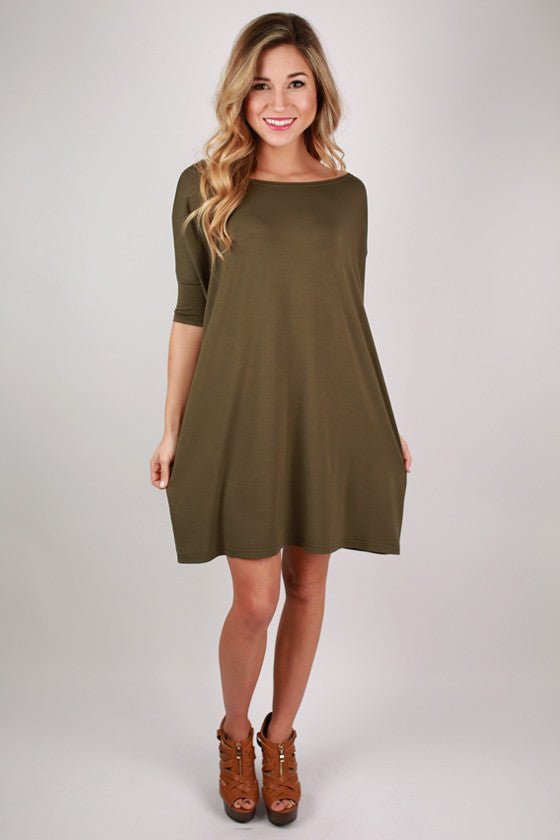 PIKO Mini Short Sleeve Tunic in Darker Olive