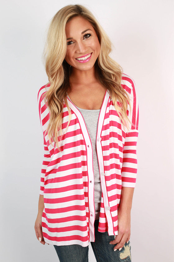 PIKO Stripe Button Up Cardi in Fuchsia