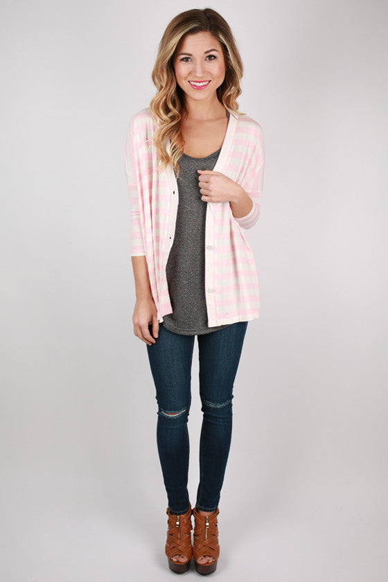 PIKO Stripe Button Up Cardi in Pink