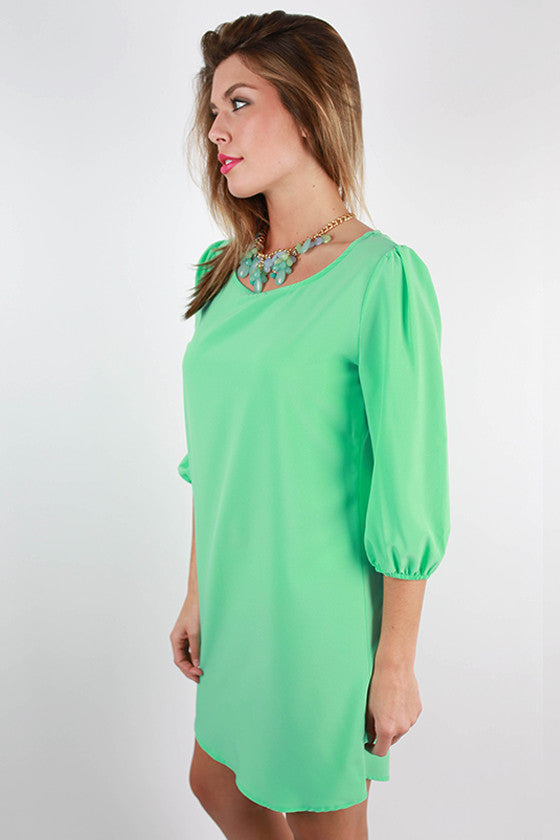 Wine & Roses Shift Dress in Mint
