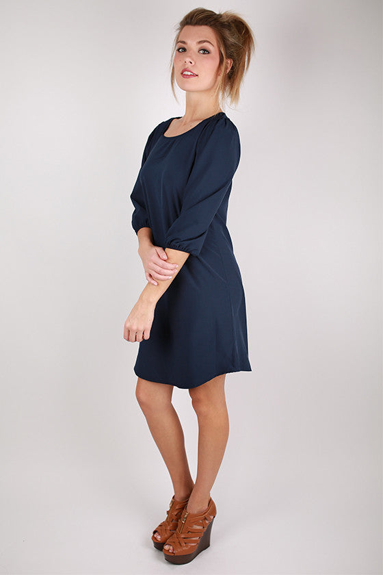 Wine & Roses Shift Dress in Navy