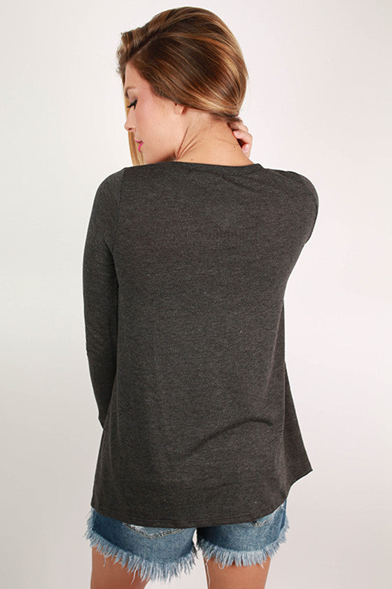 Keep It Real Top in Charcoal