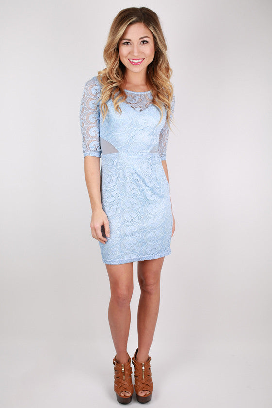 London Callin' Lace Dress in Sky Blue