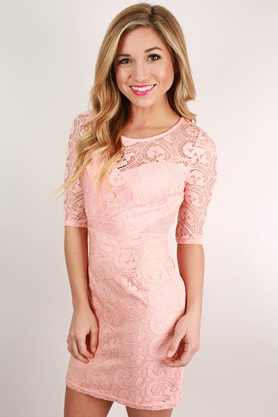 London Callin' Lace Dress in Peach